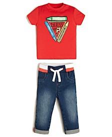 Baby Boys Short Sleeve T-shirt & Stretch Denim Jean Set