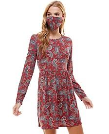 Juniors' Paisley Metallic Dress & Face Mask