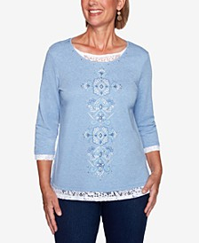 Petite Lace-Trim Embroidered Top