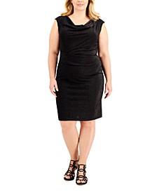 Plus Size Cowlneck Glitter Knit Dress