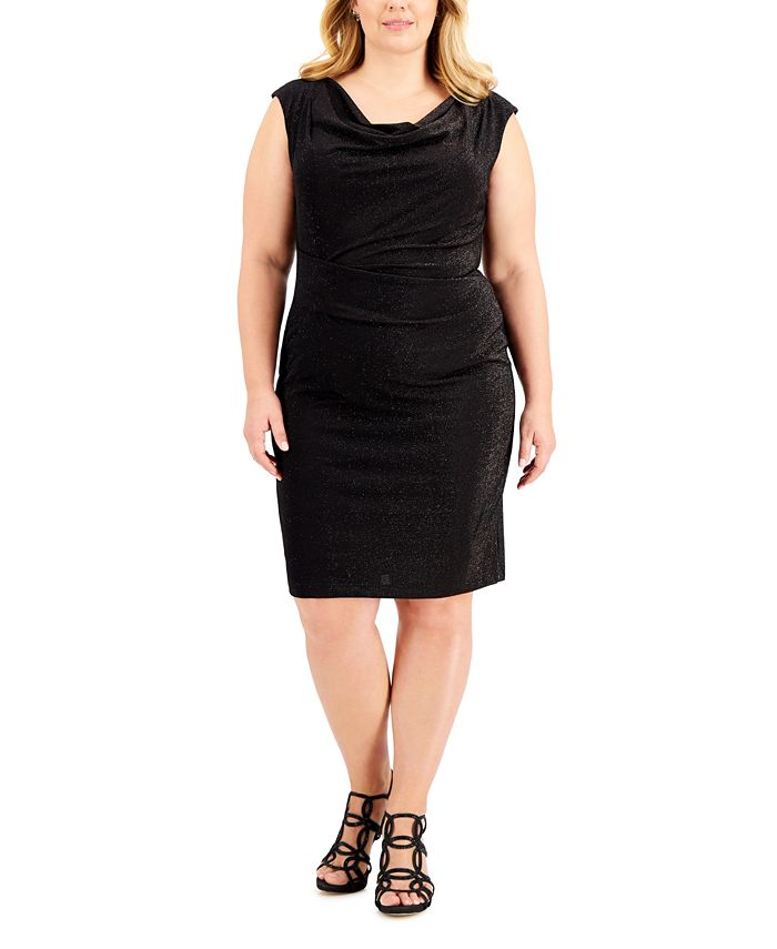 Connected - Plus Size Cowlneck Glitter Knit Dress