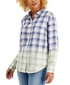 Petite Ombré Plaid Button-Front Shirt, Created for Macy's