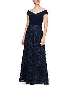Off-the-Shoulder 3D-Flower A-Line Dress