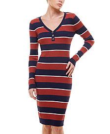 Planet Gold Juniors' Striped Henley Sweater Dress