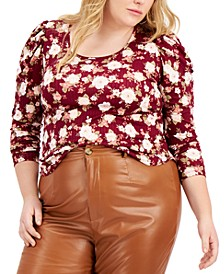 Trendy Plus Size Ruched-Sleeve Top