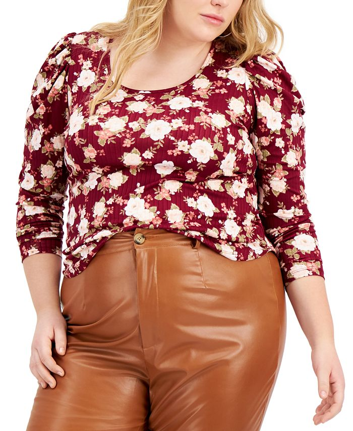 FULL CIRCLE TRENDS - Trendy Plus Size Ruched-Sleeve Top