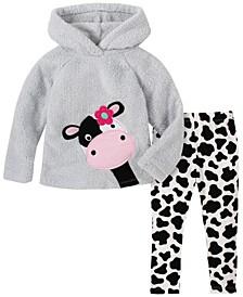 Little Girl 2-Piece Hooded Fleece Top with Cow Print Legging Set