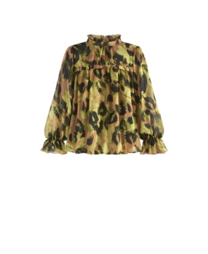 Women's Plus Size Printed Ruffle Top