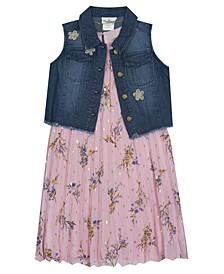 Little Girl Pleated Chiffon Dress With Denim Vest