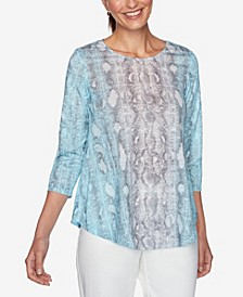 Women's Plus Size Snake Print Top