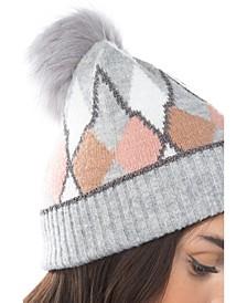Women's Argyle Lurex Faux Fur Pom Hat