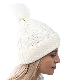 Women's Cable Knit Cuff Faux Fur Pom Hat