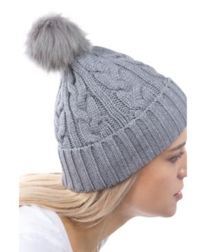 Women's Cable Knit Cuff Faux Fur Pom Hat