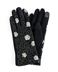 Women's Embroidered Flower Jersey Touchscreen Glove