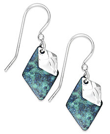 Jody Coyote Patina Bronze, Blue Diamond-Shape Drop Earrings