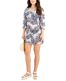 Leaf Printed V-Neck Cover-Up Tunic