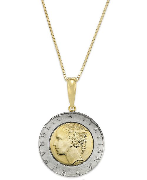 Italian Gold Vermeil and Sterling Silver Lira Coin Pendant Necklace