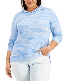 Plus Size Camouflage Hoodie, Created for Macy's