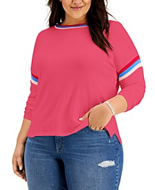 Plus Size Striped-Trim Top, Created for Macy's