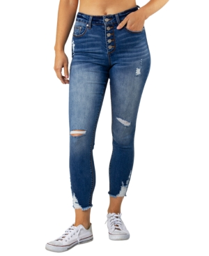Juniors' Ripped Button-Fly Skinny Jeans