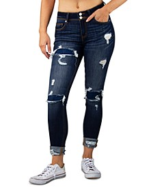 Juniors' Rip/Repair Cuffed Skinny Jeans