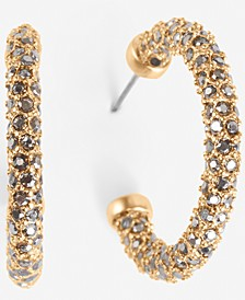 Gold-Tone Small Pavé C-Hoop Earrings, 0.75""