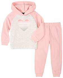 Toddler Girl Fleece Hooded Top with Fleece Pant, 2 Piece Set