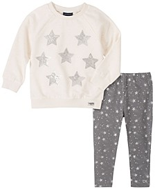 Toddler Girl French Terry Star Print Tunic with Shooting Star Print Legging, 2 Piece Set