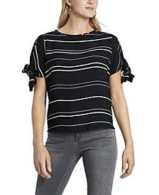 Women's Short Tie Sleeve Variegated Stripe Top