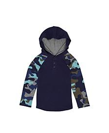 Little Boys Long Camo Sleeve Hooded Thermal