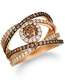 Chocolate Diamond & Vanilla Diamond Crisscross Statement Ring (1-1/4 ct. t.w.) in 14k Rose Gold