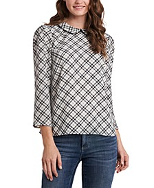 Collared Plaid 3/4-Sleeve Blouse