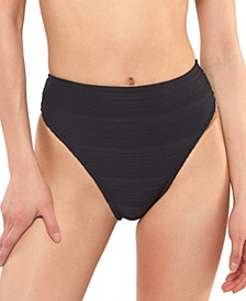 Ribbed High-Waist Bikini Bottoms