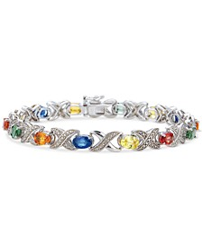 Multi-Sapphire (8-3/4 ct. t.w.) & Diamond Accent X Link Bracelet in Sterling Silver