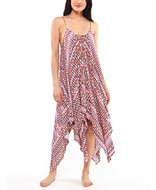 Laguna Beach Printed Handkerchief-Hem Cover-Up Dress