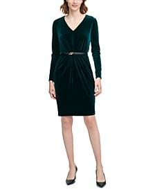 Velvet Belted Sheath Dress