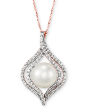 """Cultured Freshwater Pearl (8mm) & Diamond (1/4 ct. t.w.) 18"""" Pendant Necklace in 14k Yellow"""