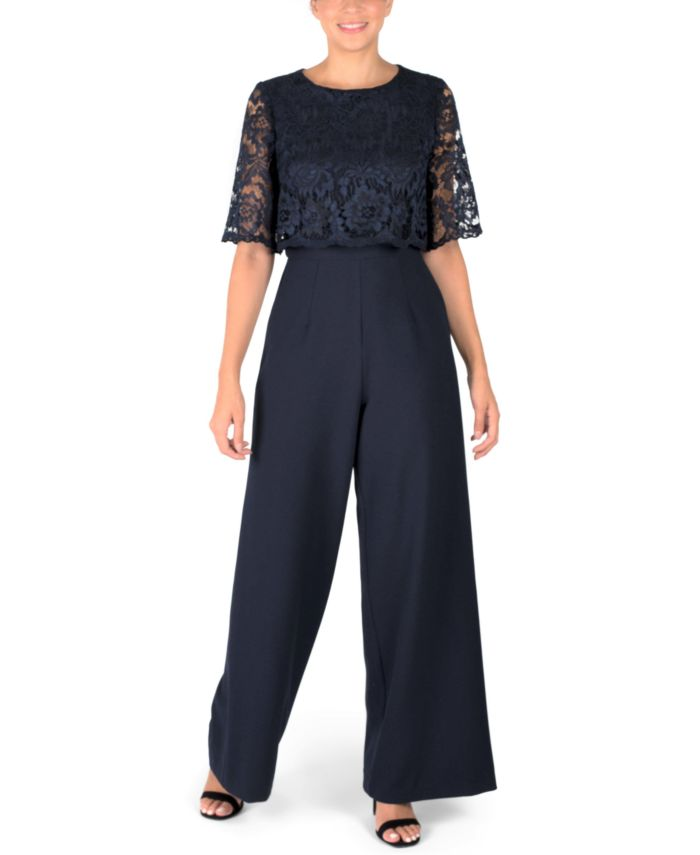 Donna Ricco Lace-Overlay Jumpsuit & Reviews - Dresses - Women - Macy's
