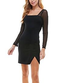 Juniors' Sheer-Sleeve Bodycon Dress