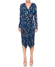 Sylvia Foil-Printed Wrap Dress