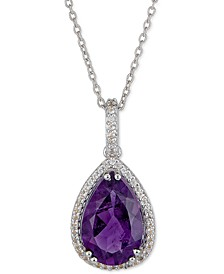 """Amethyst (3-1/2 ct. t.w.) & White Topaz (1/4 ct. t.w.) Pendant Necklace in Sterling Silver, 16"""" + 2"""" extender, (Also available in Mystic Topaz), Created for Macy's"""