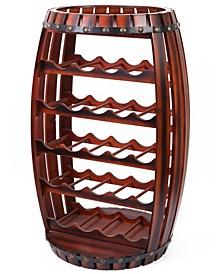 Rustic Barrel Shaped Wooden Wine Rack for 23 Bottles