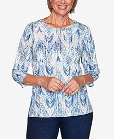 Alfred Dunner Women's Plus Size Denim Friendly Ikat Zig Zag Top