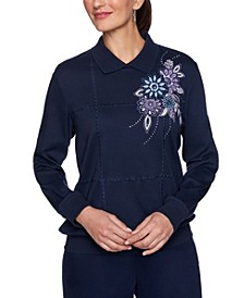 Women's Plus Size Relaxed Attitude Collared Banded Bottom Embroidered Top
