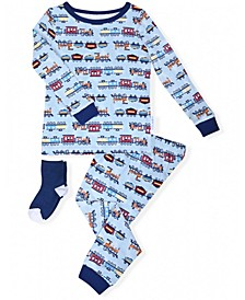 Baby Boys 2-Piece Train Print Pajama Sock Set