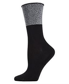 Totally Awesome Metallic Cuff Women's Crew Socks
