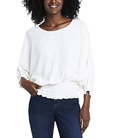 Women's Smocked Waist Dolman Sleeve Top