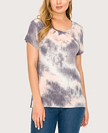 Women's Tie Dye Button Back Top
