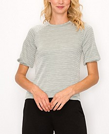 Women's Jacquard Knit Button Back Top