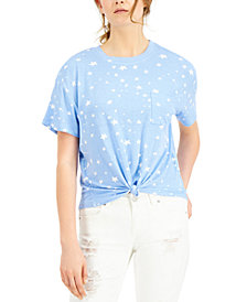 Self Esteem Juniors' Star Printed Knot-Front Ringer T-Shirt